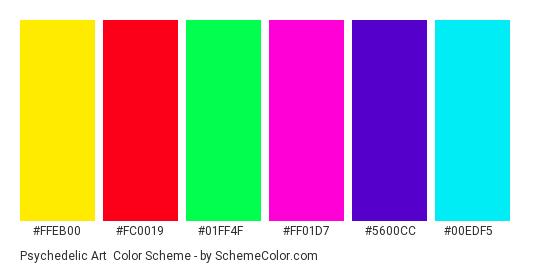 Psychedelic Art - Color scheme palette thumbnail - #ffeb00 #fc0019 #01ff4f #ff01d7 #5600cc #00edf5