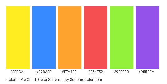 Colorful Pie Chart - Color scheme palette thumbnail - #ffec21 #378aff #ffa32f #f54f52 #93f03b #9552ea