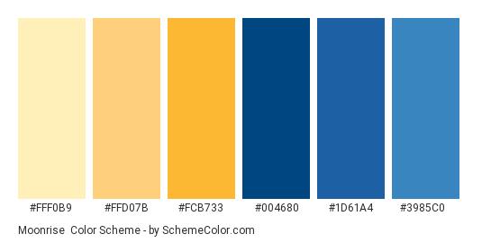 Moonrise - Color scheme palette thumbnail - #fff0b9 #ffd07b #fcb733 #004680 #1d61a4 #3985c0