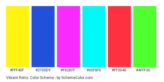 Vibrant Retro - Color scheme palette thumbnail - #fff40f #2150d9 #f82bff #00f8f6 #ff3040 #4fff30