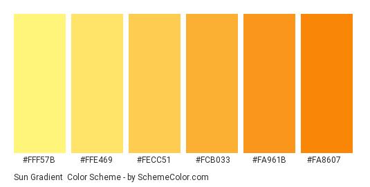 Sun Gradient - Color scheme palette thumbnail - #fff57b #ffe469 #fecc51 #fcb033 #fa961b #fa8607