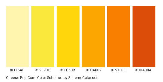Cheese Pop Corn - Color scheme palette thumbnail - #fff5af #f9e93c #ffd60b #fca602 #f97f00 #dd4d0a