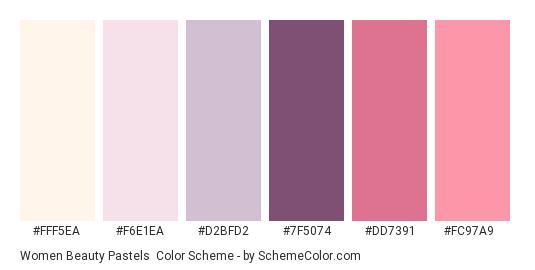Women Beauty Pastels - Color scheme palette thumbnail - #fff5ea #f6e1ea #d2bfd2 #7f5074 #dd7391 #fc97a9