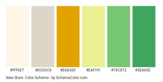 New Store - Color scheme palette thumbnail - #fff6e7 #dcd5c8 #e0a300 #eaf191 #78c872 #3ea65e
