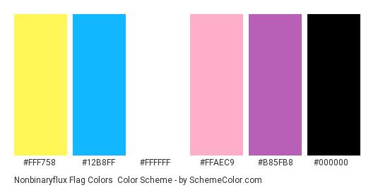 Nonbinaryflux Flag Colors - Color scheme palette thumbnail - #fff758 #12b8ff #ffffff #ffaec9 #b85fb8 #000000