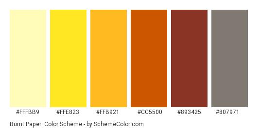 Burnt Paper - Color scheme palette thumbnail - #fffbb9 #ffe823 #ffb921 #cc5500 #893425 #807971