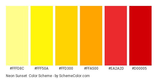 Neon Sunset - Color scheme palette thumbnail - #fffd8c #fff50a #ffd300 #FFA500 #ea2a2d #d00005