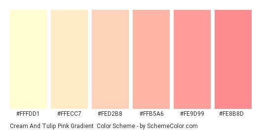 Cream and Tulip Pink Gradient - Color scheme palette thumbnail - #fffdd1 #ffecc7 #fed2b8 #ffb5a6 #fe9d99 #fe8b8d
