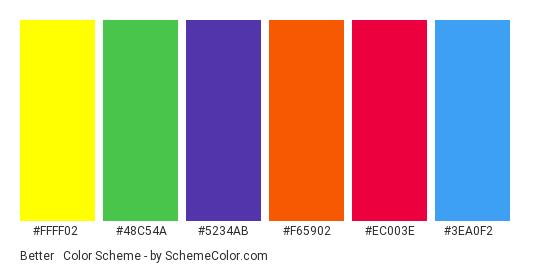 Better & Brighter - Color scheme palette thumbnail - #ffff02 #48c54a #5234ab #f65902 #ec003e #3ea0f2