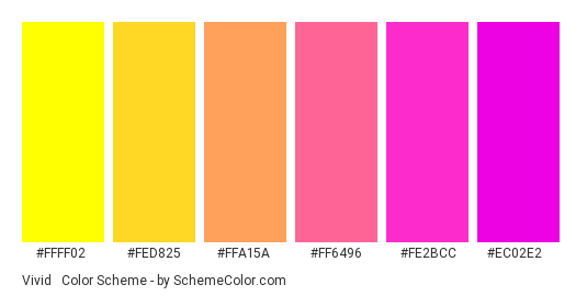 Vivid & Bright Gradient - Color scheme palette thumbnail - #ffff02 #fed825 #ffa15a #ff6496 #fe2bcc #ec02e2