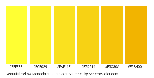 Beautiful Yellow Monochromatic - Color scheme palette thumbnail - #ffff33 #fcf029 #fae11f #f7d214 #f5c30a #f2b400