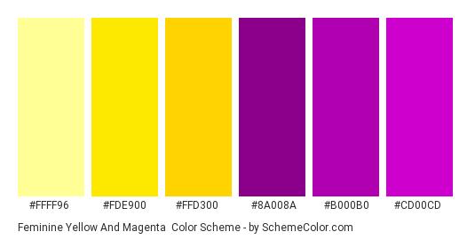 Feminine Yellow and Magenta - Color scheme palette thumbnail - #ffff96 #fde900 #ffd300 #8a008a #b000b0 #cd00cd