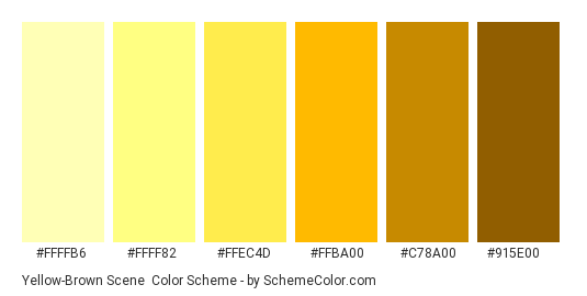 Yellow-Brown Scene - Color scheme palette thumbnail - #ffffb6 #ffff82 #ffec4d #ffba00 #c78a00 #915e00