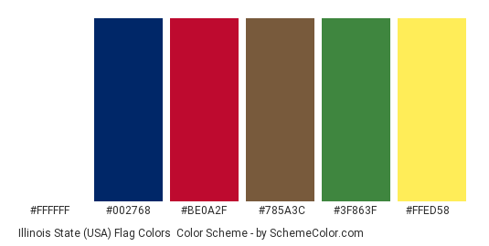 Illinois State (USA) Flag Colors - Color scheme palette thumbnail - #ffffff #002768 #be0a2f #785a3c #3f863f #ffed58