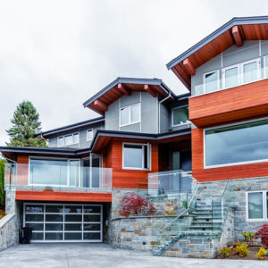 Beautiful Red and Gray Home with Garage - Color combination