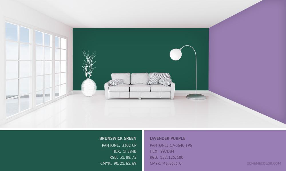 Brunswick Green with Lavender Purple - Hex: 1F584B, 997DB4