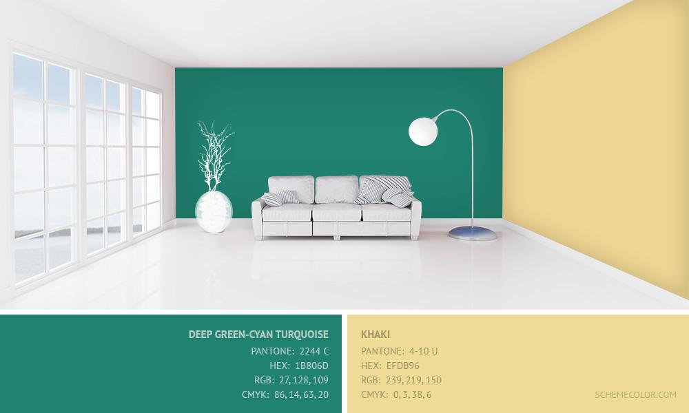 Deep Green-Cyan Turquoise with Khaki - Hex: 1B806D, EFDB96