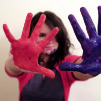 Girl hands with colored