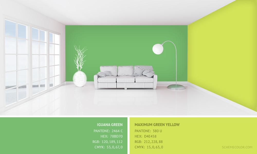 Iguana Green and Maximum Green Yellow - Hex: 78BD70, D4E458