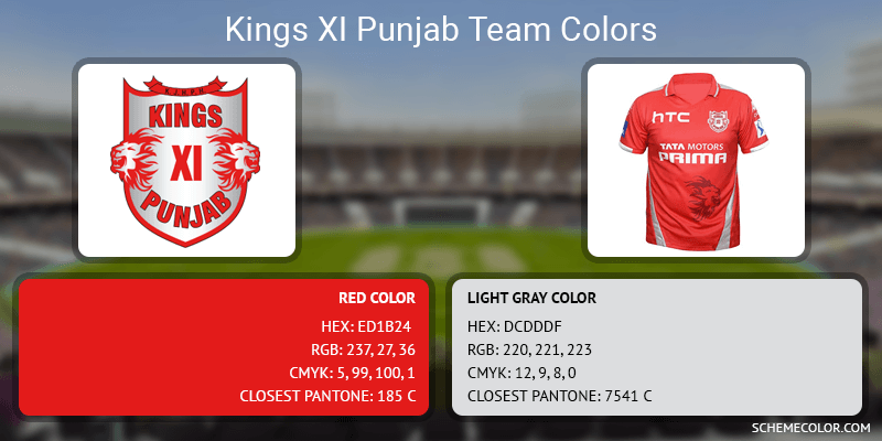 Kings XI Punjab - Red and Gray