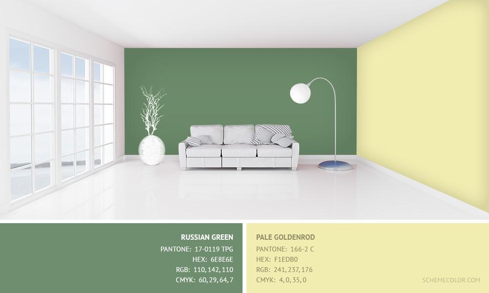 Russian Green with Pale Goldenrod - Hex: 6E8E6E, F1EDB0