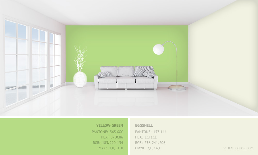 Yellow-Green with Eggshell - Hex: B7DC86