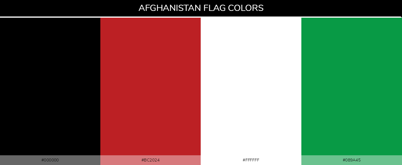 Afghanistan flag colors - Country Flags - Codes: 000000, 089a45, bc2024, ffffff