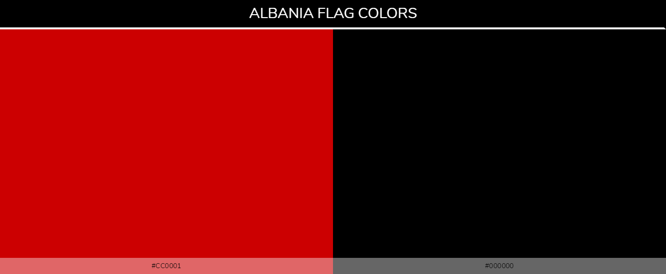 Albania Country flag colors codes - 000000, cc0001