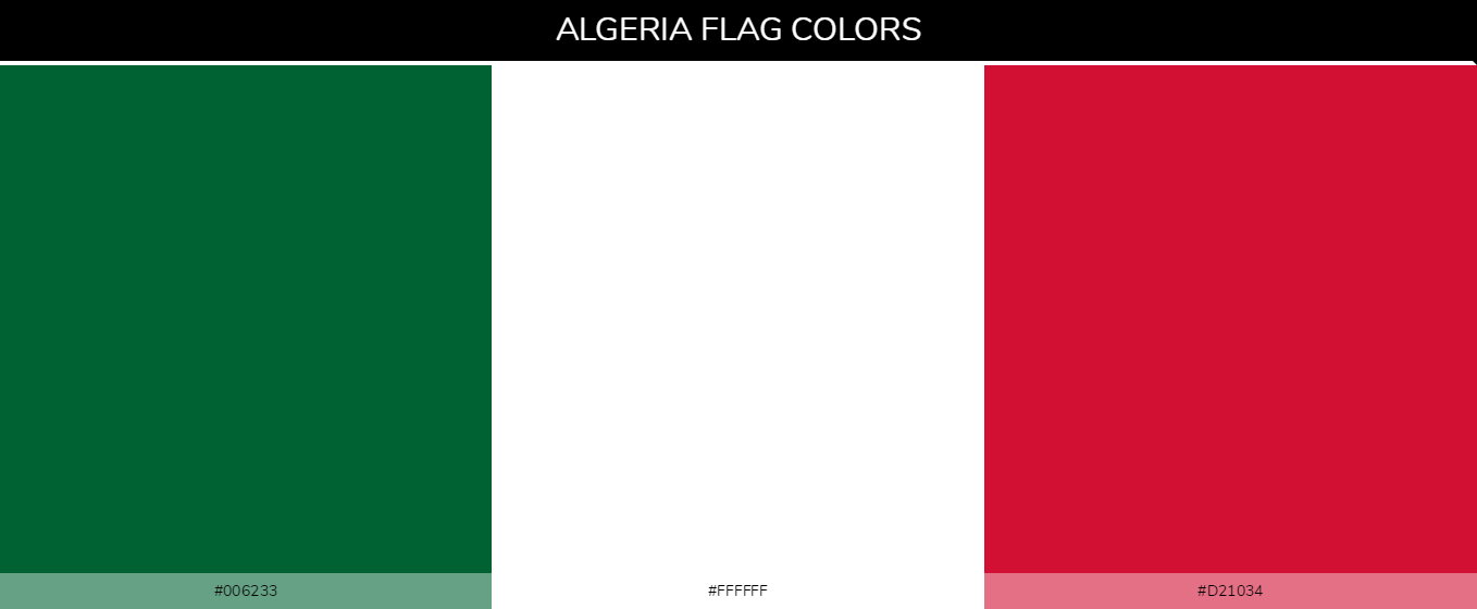 Algeria Country flag colors codes - 000000, cc0001