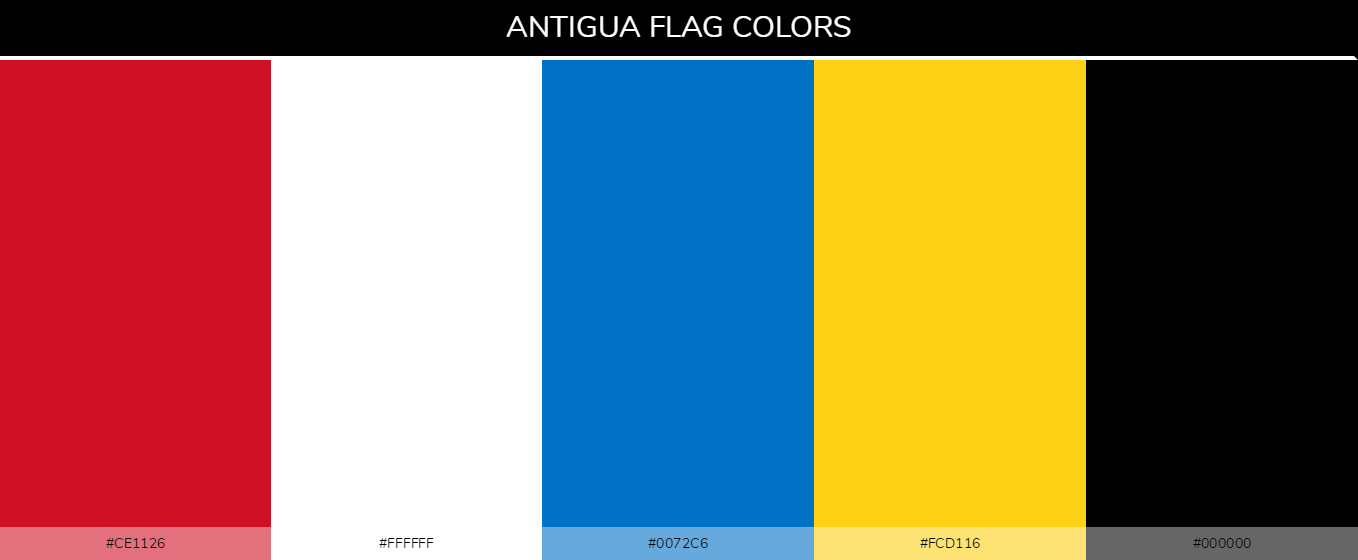 Antigua and Barbuda Country flag colors codes - 000000, 0072c6, ce1126, fcd116, ffffff