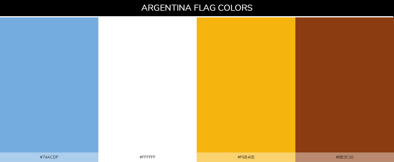 Argentina Country flag colors and codes - 74acdf, 8b3c10, f6b40e, ffffff