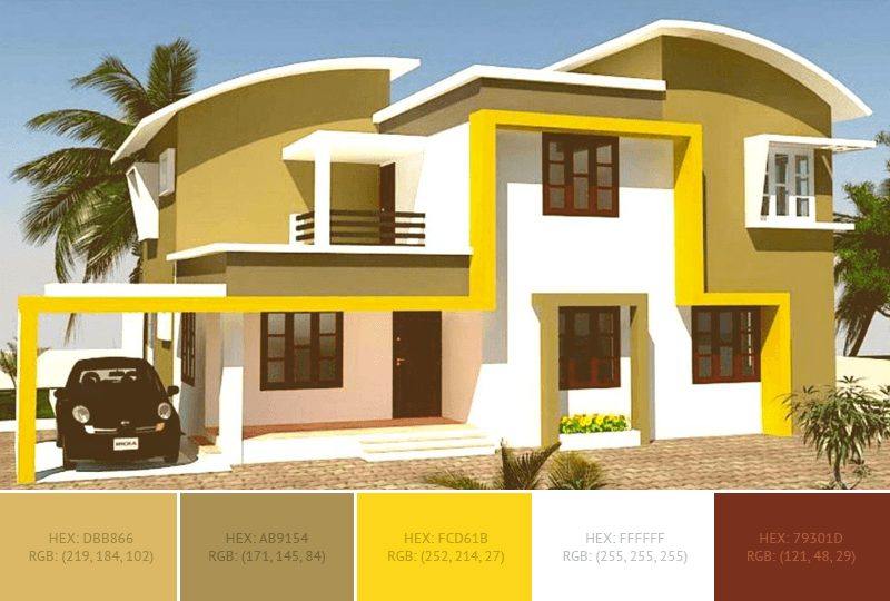 This yellow House Exterior has 3 colors combination with Vegas Gold, Gold Fusion and Sunglow.