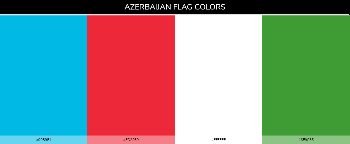 Azerbaijan Country flag colors and codes - 00b9e4, 3f9c35, ed2939, ffffff
