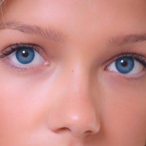 Azure colored eyes