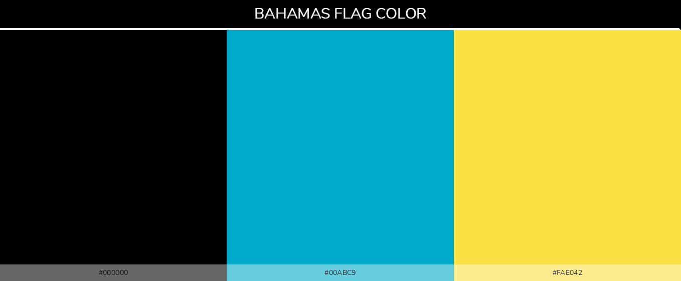 Bahamas Country flag colors and codes - 000000, 00abc9, fae042
