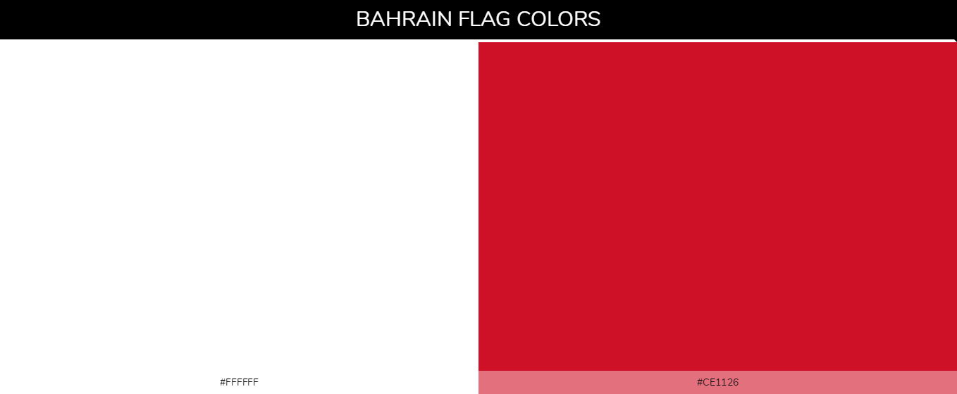 Bahrain Country flag colors and codes - ffffff, ce1126