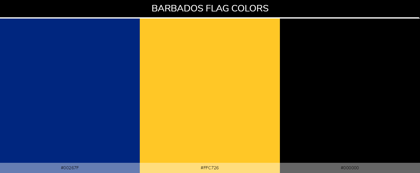 Barbados Country flag colors and codes - 00267f, ffc726, 000000, Blue, yellow, black