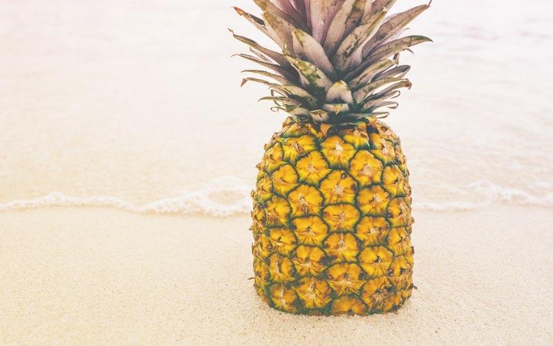 Pineapple on a beach