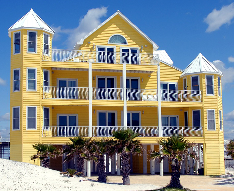 Beach Yellow Apartment Exterior Paint Color Combination
