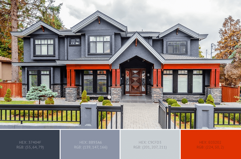 Beautiful Gray And Red House Exterior Paint Color Combination