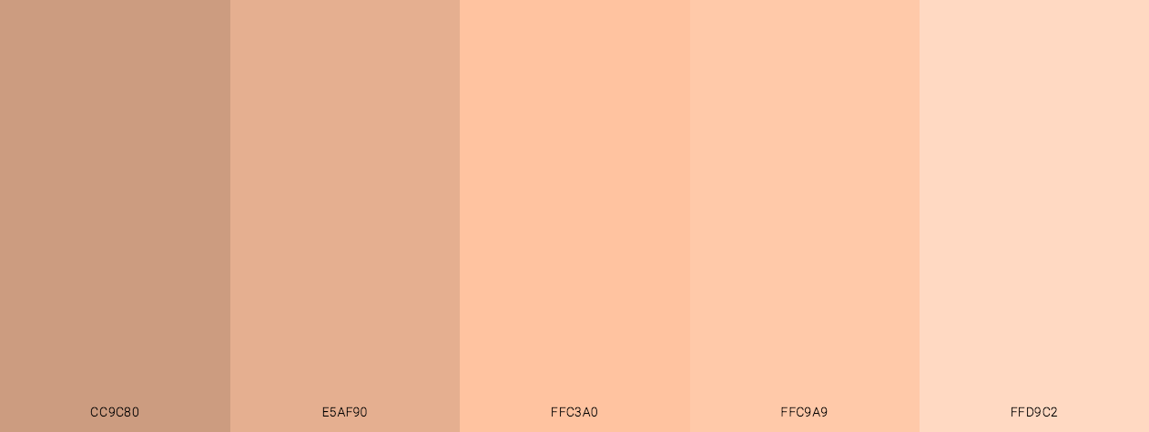 Beautiful Peach Skin Tones Color Scheme Palette