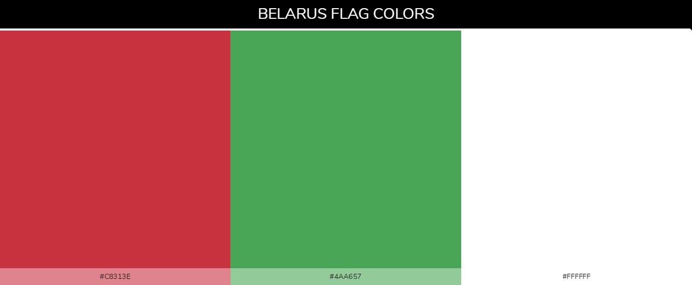 Belarus Country flag colors and codes - Red #c8313e, Green #4aa657, White #ffffff