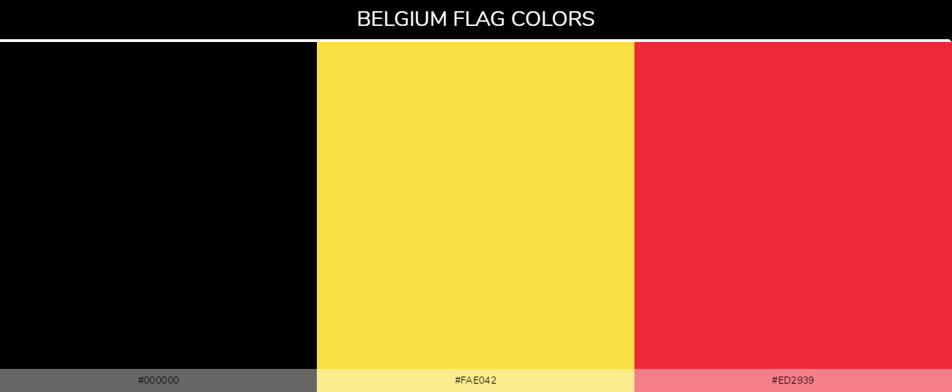 Belgium Country flag colors and codes - black #000000, Yellow #fae042, Red #ed2939