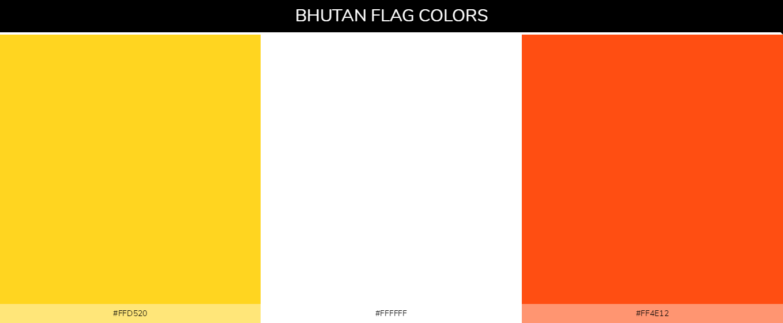 Bhutan Country flag colors and codes - Yellow ffd520, White ffffff, Orange ff4e12