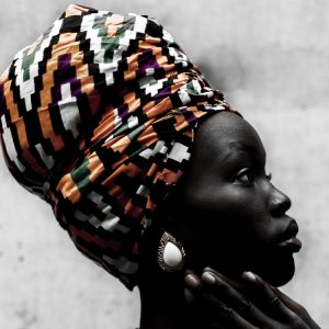 Beautiful black woman with her head covered