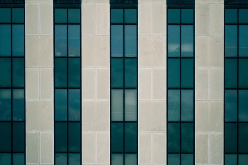 Blue Glass Window Facade