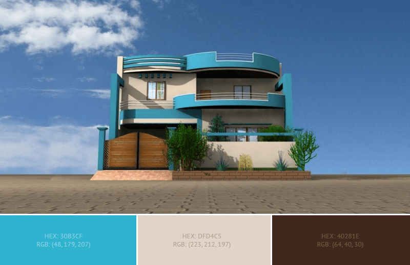 This wonderful House Exterior has 3 colors combination with Ball Blue, Bone and Bistre.