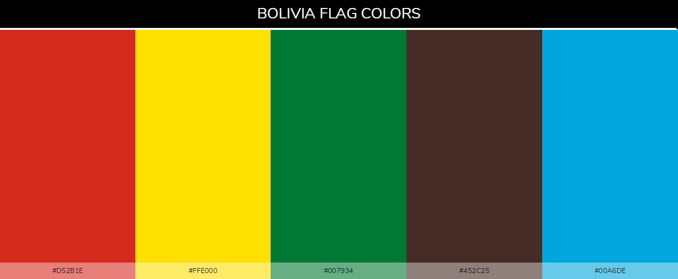 Bolivia Country flag colors and codes - Red d52b1e, Yellow ffe000, Green 007934, Brown 452c25, Blue 00a6de
