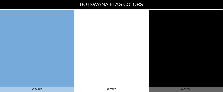 Botswana Country flag colors and codes - Blue 75aadb, White ffffff, black 000000