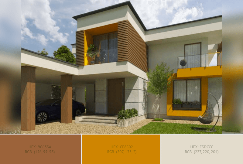 This creative House Exterior has 5 colors combination with Chocolate (Traditional), Vivid Amber, Raw Umber, Dark Gray (X11) and Pastel Gray.